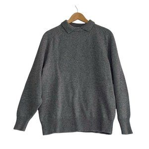 Vintage 80s Men's Size Large Gap Clothing Co. Gray Lambswool Sweater Collared